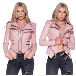 Pink zippered moto leather jacket